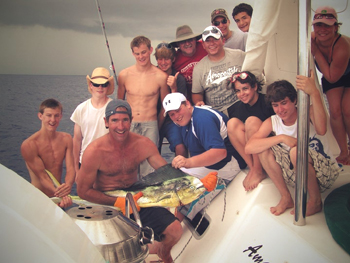 Boy Scouts On A Catamaran Yacht In The Bahamas