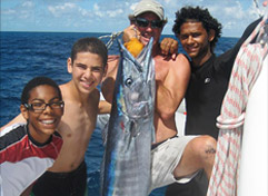 Fishing with Boy Scouts on Catamaran Yacht