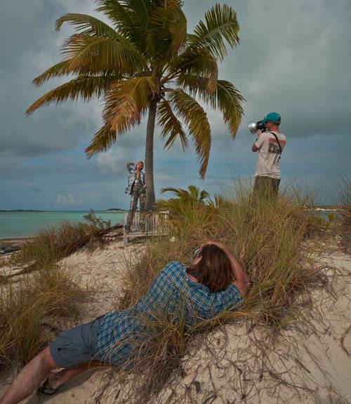 在埃克苏马群岛,巴哈马群岛拍摄时装