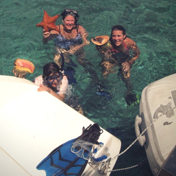 Starfish And Conch Discoveries While Snorkeling In The Bahamas